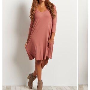 NWT Rust Ribbed V-Neck Dress